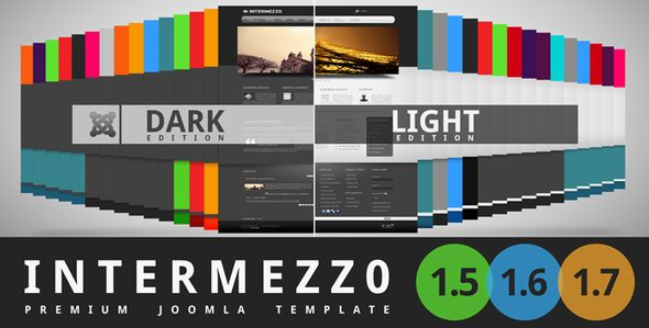 Intermezzo . Intermezzo is modern and clean template for a Joomla! 1.5 and a joomla 1.6 + 1.7 theme designed with businesses or creative in mind. The theme is also well suited for corporate, portfolios and blogs. Intermezzo templates run on T3 Framework