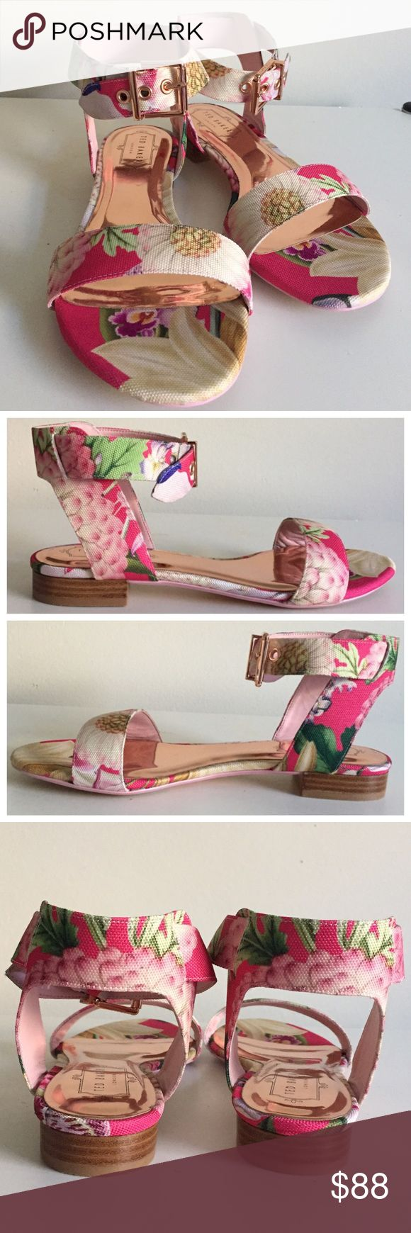 "SALENIB Auth Ted Baker Leeban Floral Sandals NIB authentic Ted Baker London Leeban flat sandals / ""Encyclopaedia Floral"" print / adjustable ankle straps with buckle closure / textile upper / textile lining / rose gold leather insole / textile and resin sole / rose gold toned hardware and accents / 1"" stacked heels / original box / fits true to size / reasonable offers welcome / also listed on ♏️ercri for less Ted Baker Shoes Sandals"