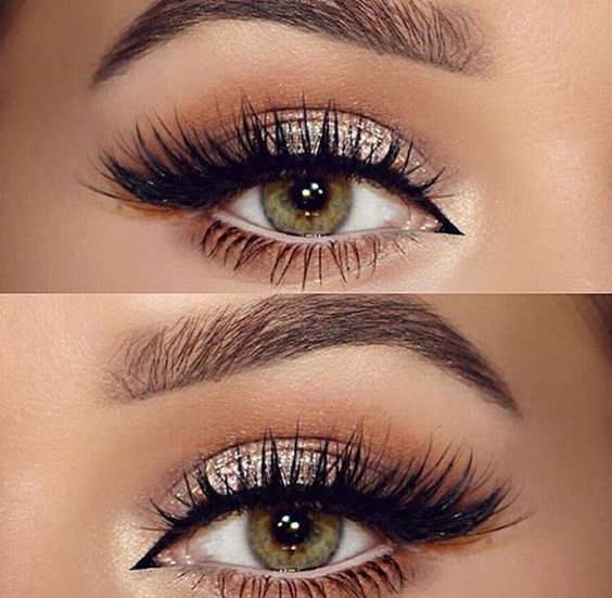 Love this eye makeup - Perfectly golden with lashes - Need to learn how to do my eyeliner like that in the inner corner: