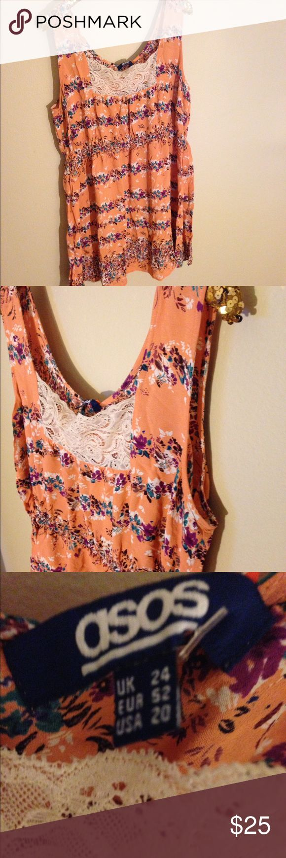 Asos plus size sleeveless top. Size 20 Bright and fun for summer with lace detail ASOS Tops Blouses
