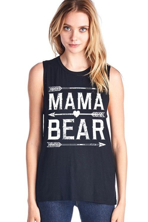 MAMA BEAR W/ HEART AND ARROW PRINT MUSCLE TANK TOP