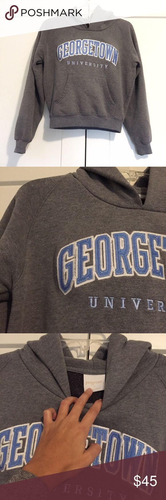 Georgetown University Hoodie Sweatshirt Super cool rare Georgetown University hoodie. Was in storage and just found this again and it's too small for me now. Size S but fits like an XS or smaller. Warm and soft! No trades ❤️ not Nike it's Jansport Nike Sweaters