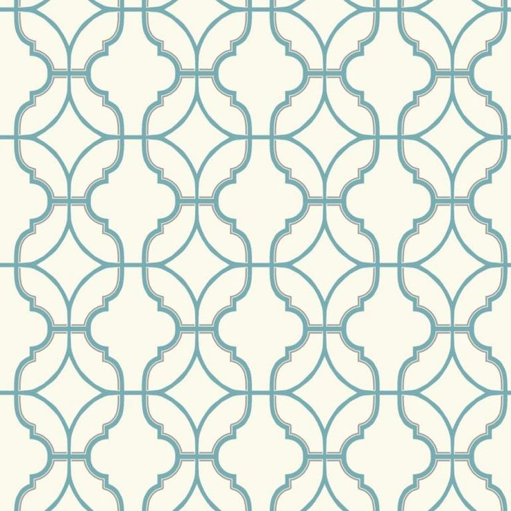 Trellis wallpaper design in aqua blue on a cream background, from the Watercolours collection by Carey Lind Designs, WT4619 by York Wallcoverings. Available through Guthrie Bowron stores in New Zealand.