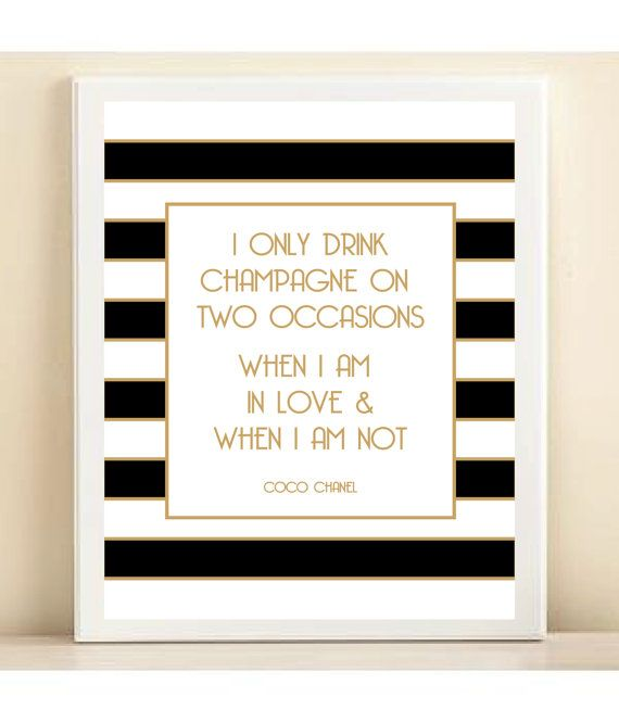 Black White and Gold Coco Chanel 'I Only by AmandaCatherineDes, $15.00