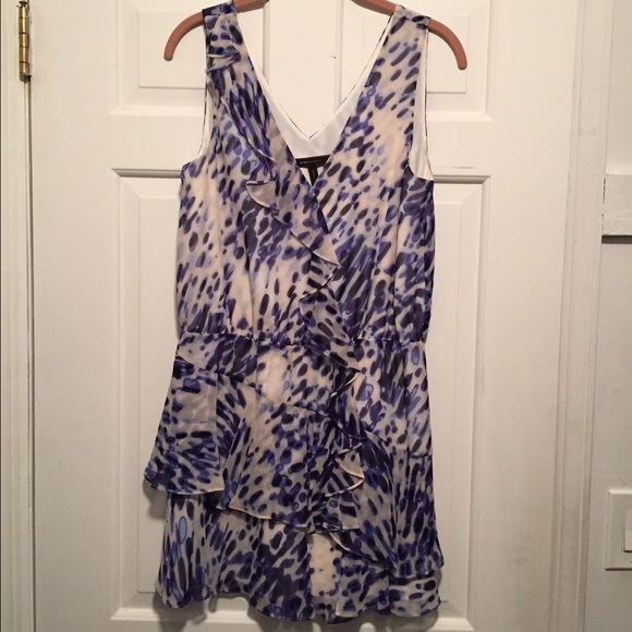 BCBG MaxAzria watercolor dress Beautiful watercolor print dress with v neck and v back. Very flattering. Can also be worn with a belt at waist. Love combination of colors. This dress is great for any occasion. Minimal wear- perfect condition. BCBGMaxAzria Dresses