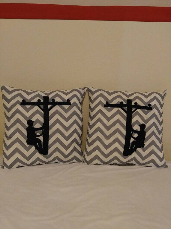 Turquoise and white chevron cotton pillow with hot pink 11 inch tall climbing lineman on a pole. Pillow measures 16 inches wide by 16 inches tall. Perfect little throw pillow for any Linemans wife, girlfriend or daughter!  New pillow color and lineman color options!  Please see shop announcement for important information and coupon codes