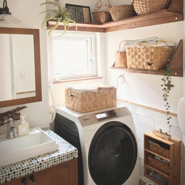 tomoさんの、Bathroom,洗濯中,かご収納,ウッドワンについての部屋写真