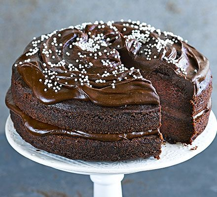 This indulgent, fudgy vegan bake is topped with a rich frosting - you'd never guess that it's free from dairy, eggs, wheat and nuts