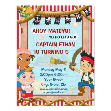 Jake and the Neverland Pirates Birthday Invitation Custom Invitations