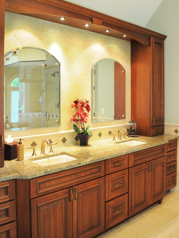 Tuscan Style Bathroom With Double Vanity Use Of Decorative Tile Work Helps  Create A Tuscan