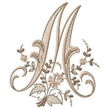 Gunold Embroidery Design: Monogram M 4.31 inches H x 3.70 inches W