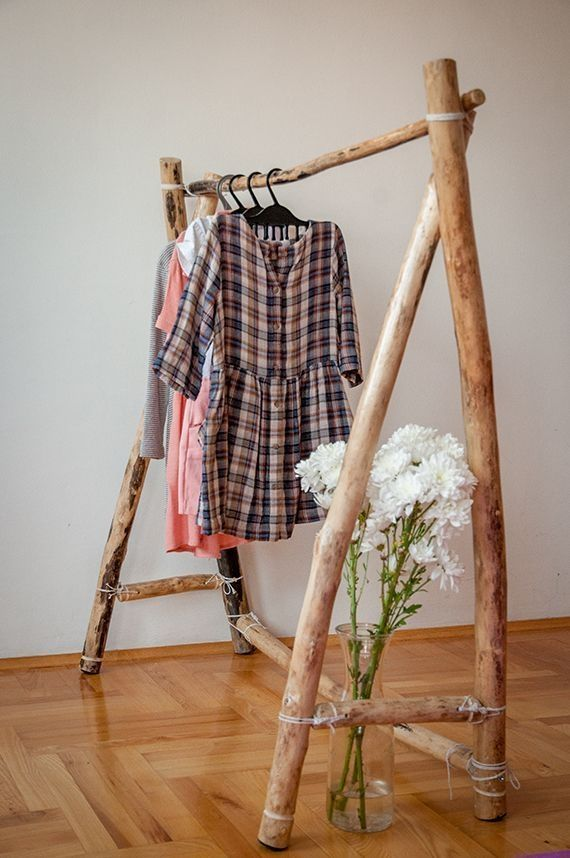 40 Simple and practical clothes racks for casual decoration ideas
