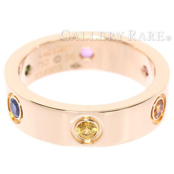 カルティエ ラブリング マルチストーン サファイア ガーネット アメジスト K18PGピンクゴールド B4087800 リングサイズ56 Cartier 指輪 ジュエリー