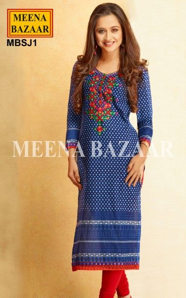 Blue Cotton Kurti -  Infuse a unique charm to your persona clad in this Alluring Navy Blue Kurti in floral print. Highlighting feature of the Kurti is Multi Colored Resham Thread Work on the Yoke and the Contrast Piping and Border on the hemline and sleeves. Perfect wear to be worn elegantly at lighter day gatherings and yet can be a Perfect Evening Wear for summer evenings.