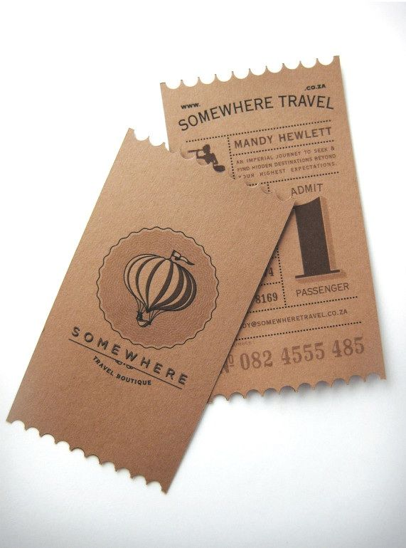 Somewhere Travel Boutique - travel agent #business #card with unique ticket number