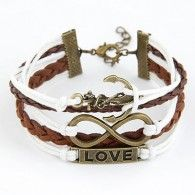 Üç Sıralı Deri Bronz Çapa Sonsuzluk Love Yazılı Bileklik www.takirafi.com'da sadece 9,95TL