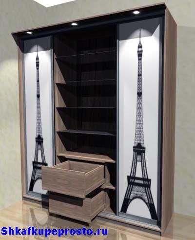 На нашем шкафу купе выполнен принт Эйфелевой башни.
