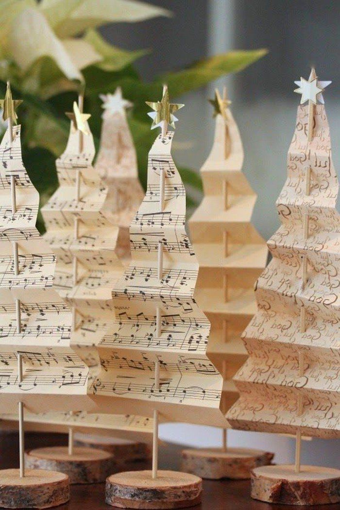 sapin rondelles papier Noël en décoration bois  – Weihnachtsdeko