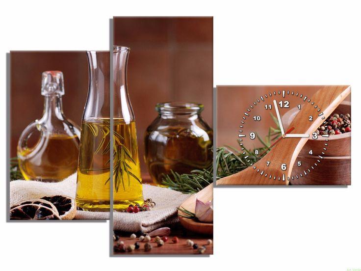 Fotozegar z oliwą - do kuchni 100x70 OBRAZY Z ZEGAREM Galeria obrazów Art Verde