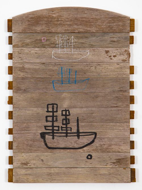 ghost boatstexture paste, oil, resin stick, on wood 32″ x 23″ 1...