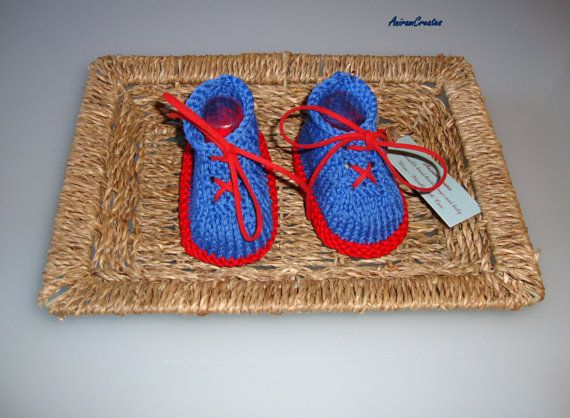 Hand knitted Baby Boy Cotton Tennis Shoes by AniramCreates on Etsy, £12.99