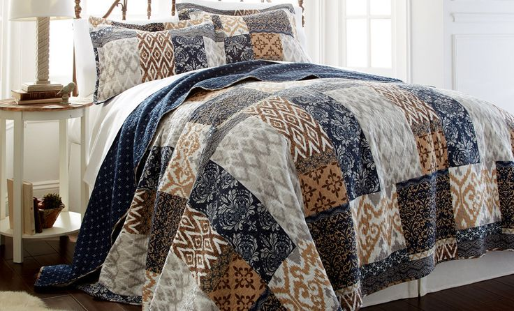 100% Cotton 3 Piece printed reversible quilt Set Laura Full/Queen