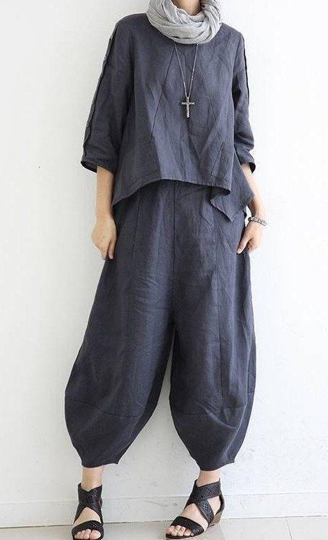 Casual Loose Fitting Linen Turnip pants bloomers - Dark blue - Women pants - women trousersC156