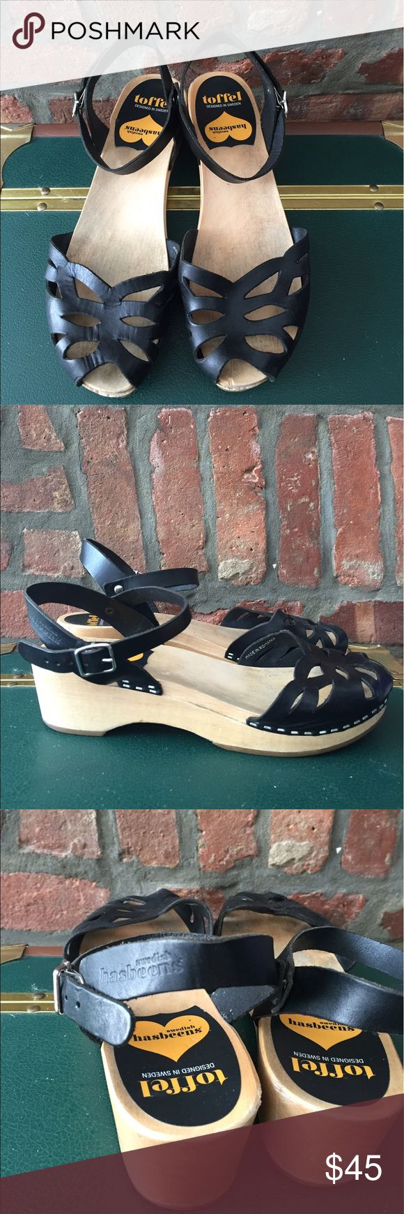 Swedish Hasbeens Ornament Clog sandals, sz 7.5 Swedish Hasbeens Ornament Clog sandals in black leather, size 7.5. A bit worn but the leather is in good condition and the wood has been cleaned. Swedish Hasbeens Shoes Sandals