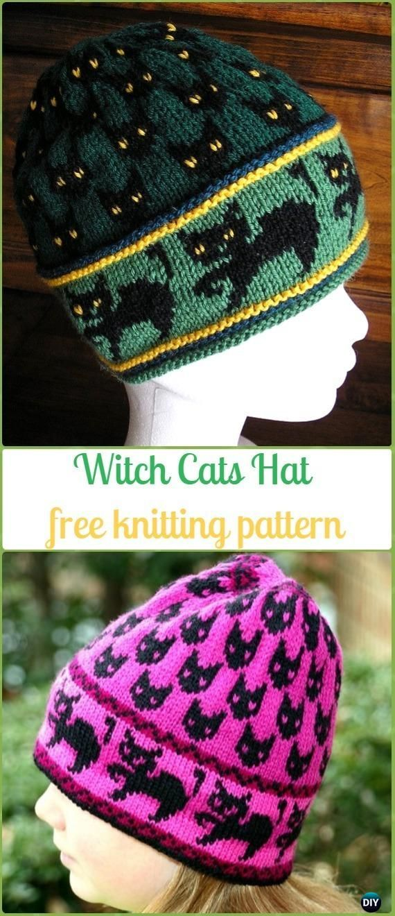Knit Witch Cats Hat Free Pattern - Fun Kitty Cat Hat Free Knitting Patterns #knittingneedles