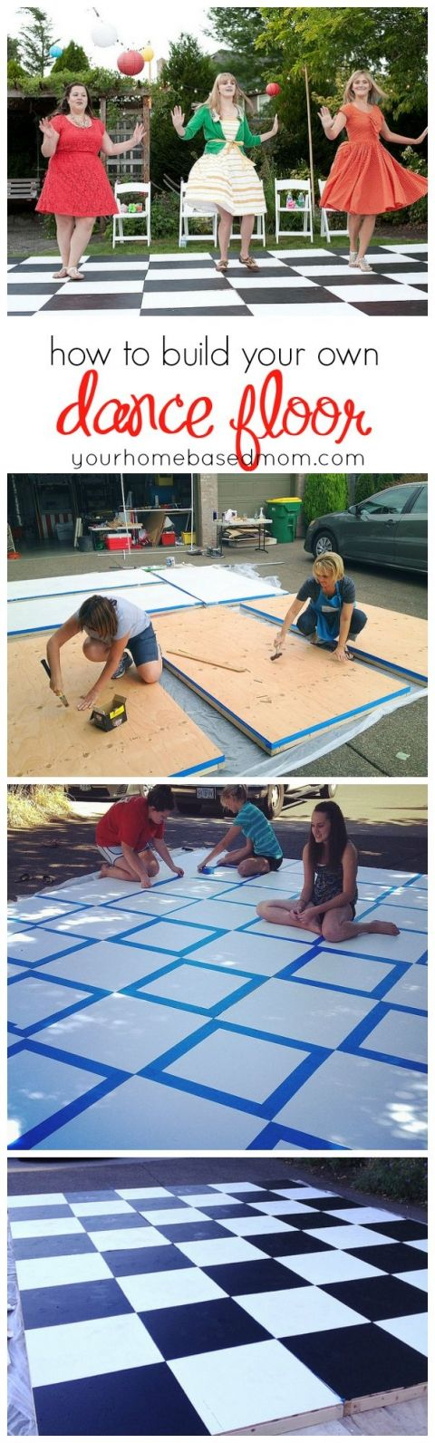 Building your own dance floor is easy and so much less expensive than renting one.  Use this step by step tutorial!