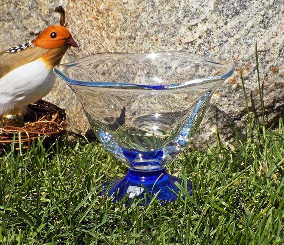 Vintage Orrefors Alice Footed Bowl Cobalt to Clear Design by Erika Lagerbielke Sweden Signed, Dated 1991 - $44.00 at Etsy