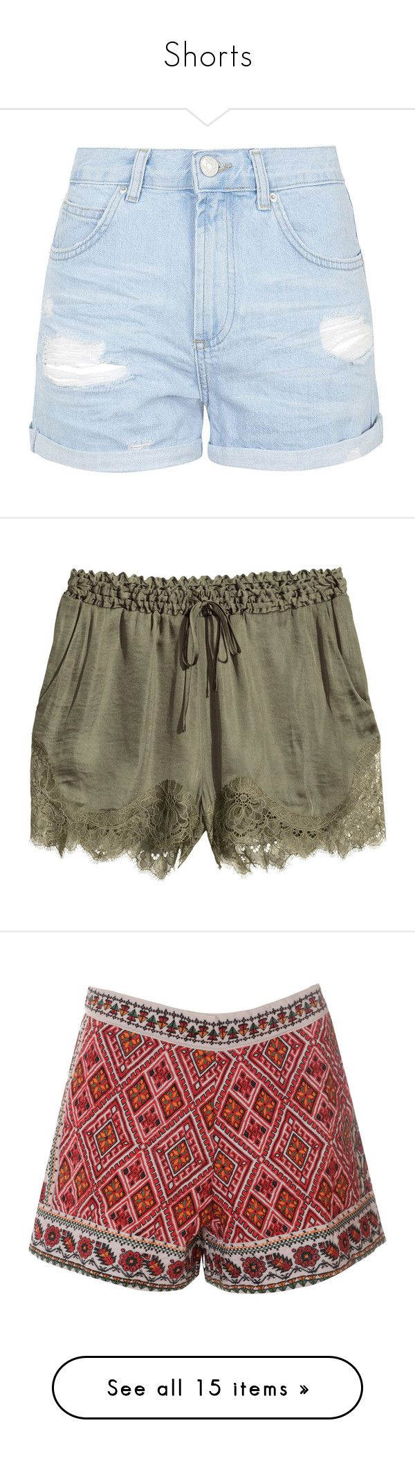 """""""Shorts"""" by otrafter ❤ liked on Polyvore featuring shorts, bottoms, pants, short, light blue, topshop shorts, distressed shorts, short shorts, ripped shorts and light blue shorts"""