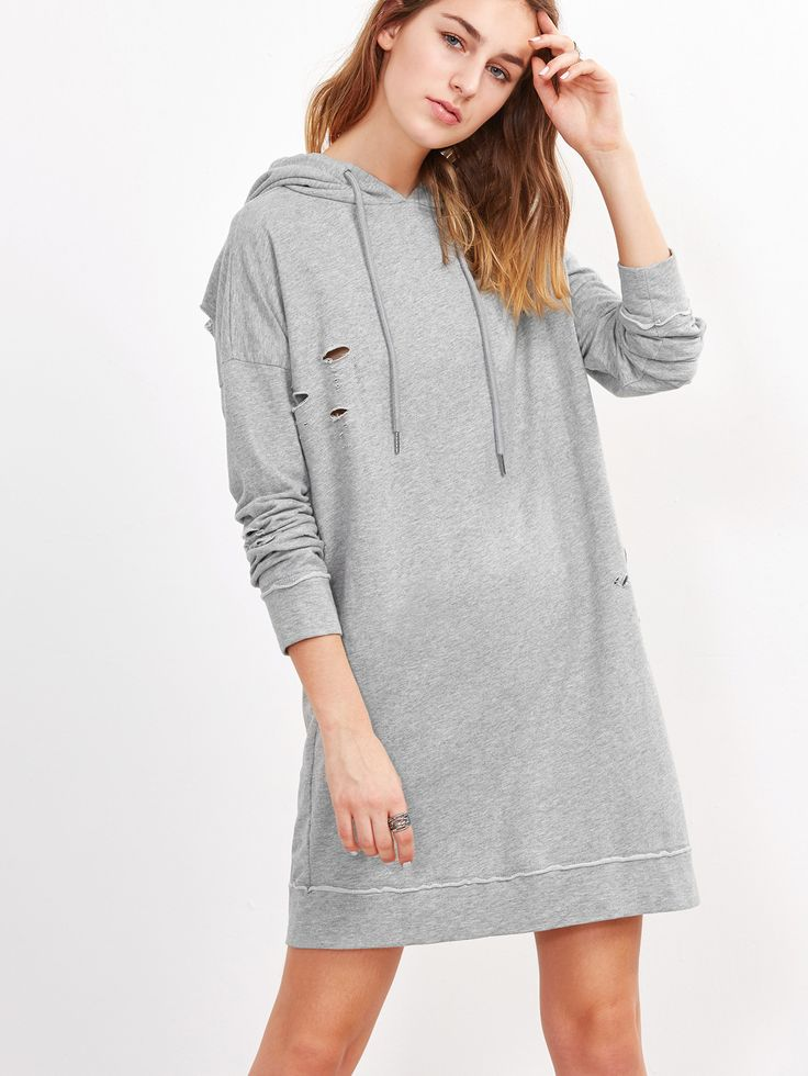 Shop Heather Grey Drop Shoulder Ripped Hoodie Dress online. SheIn offers Heather Grey Drop Shoulder Ripped Hoodie Dress & more to fit your fashionable needs.