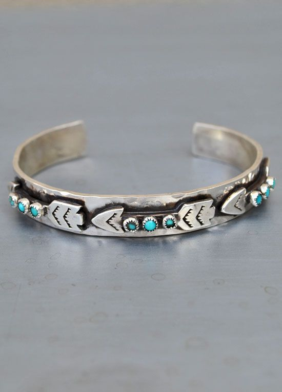 Richard Schmidt Three Arrows skinny cuff with turquoise | The Gypsy Wagon
