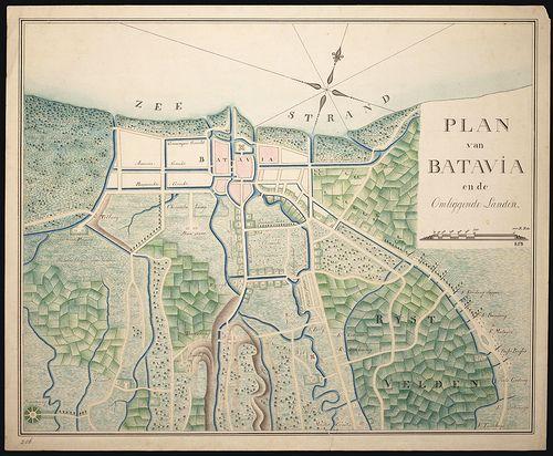 Plan van Batavia en de omliggende landen, 1800-1850 ...