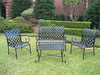 4pc Outdoor Diamond Lattice Outdoor Iron Settee Patio Set by Ewins. $344.95. Color: Vertigris. (2) Chairs - 23 W x 36 H x 23 D. (1) Loveseat - 42 W x 36 H x 23 D. (1) Coffee Table - 18 H x 32 W x 18 D. 4pc Diamond Lattice Outdoor Patio Settee Set. This Super-Cozy 4pc outdoor patio set is carefully crafted with Diamond Lattice design on the seat and back. This Outdoor patio furniture is Galvanized, Powder Coated and treated with an Electrophoresis finish, this outdoo...