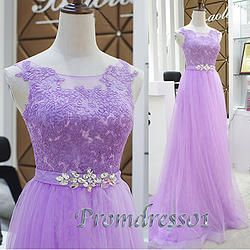 #promdress01 prom dresses - 2015 light purple tulle slim long prom dress for teens, homecoming dress with sequins #coniefox
