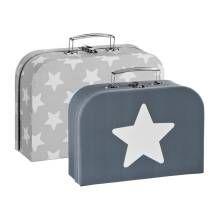 Spielzeug-Koffer 2er-Set Sterne grau von Kids Concept