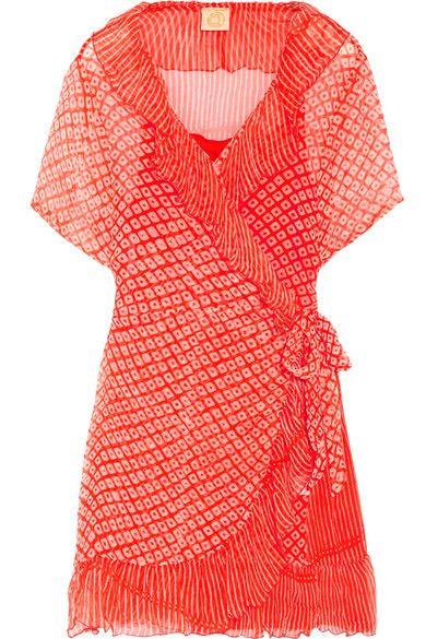 Cloe Cassandro | Kim ruffled printed silk-chiffon wrap dress | NET-A-PORTER.COM