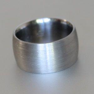 wide titanium ring with brushed finish