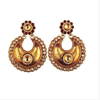 Beautiful Heavy Dangler Studded with White Stones  Flaunt the ethnic you with our new range of earrings. This trendsetter with its beautiful design for sure will be a hit amongst the youngsters. Ethnic and delicate, these earrings are intricately crafted to perfection, Wear it feel it!