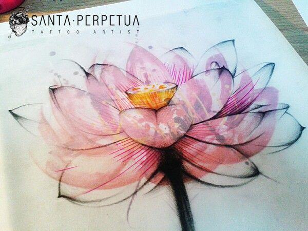 Tattoo idea. Water color lotus flower