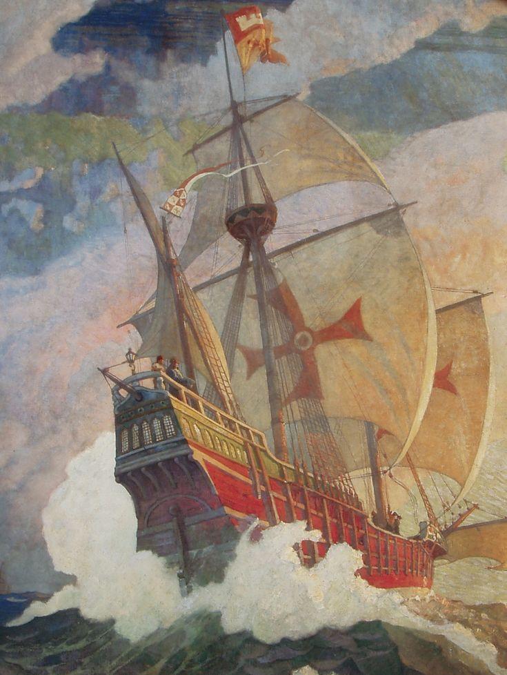 Columbus' Ship - by N.C. Wyeth