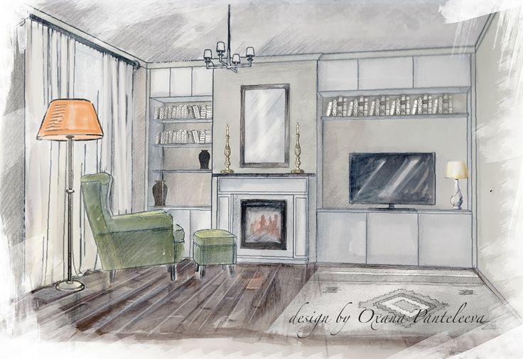 watercolor rendering by oxana panteleeva