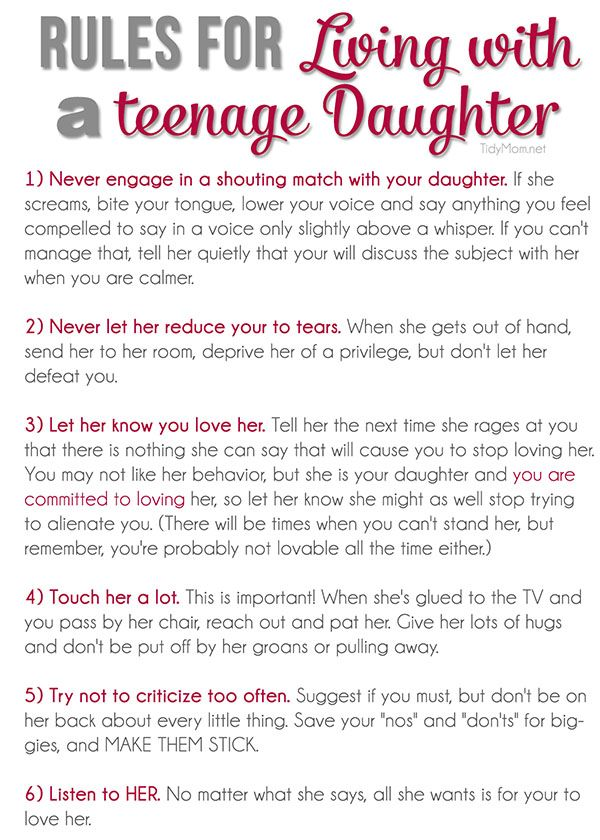 Rules for Living with a Teenage Daughter + free printable at TidyMom.net