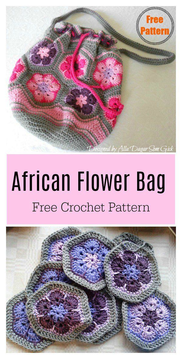 African Flower Motif Bag Free Crochet Pattern