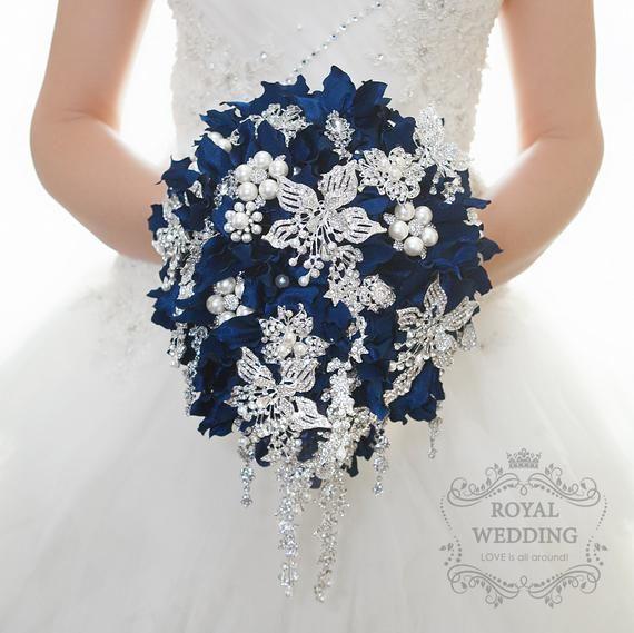 Navy Blue Cascade Brooch Bouquet Silver Bridal Wedding Bouquet
