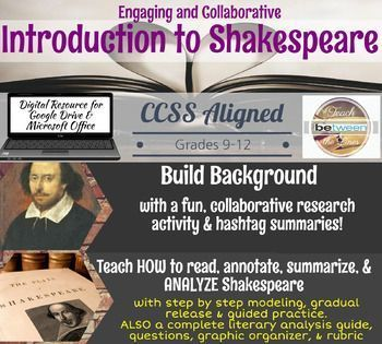 Introduce Shakespeare with these fun, collaborative, and engaging activities that teach the HOW TO and they WHY we read Shakespeare! -Build background information in a fun, unique, collaborative activity in which students practice research and presentatio