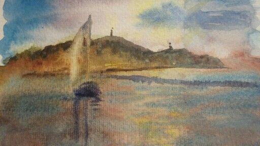 Balaton, Fonyód,akvarell