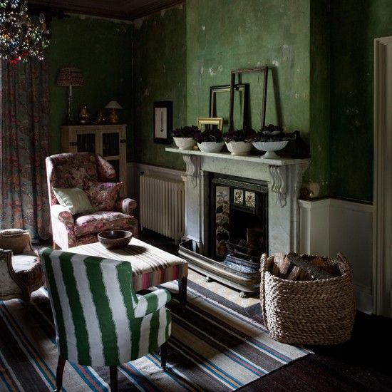 Grüne Landhaus Wohnzimmer
